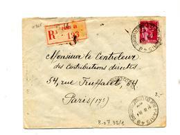 Lettre Recommandee Paris 48 Sur Paix - Postmark Collection (Covers)
