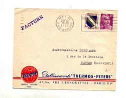 Lettre Flamme Paris XV Conducteur Signalez Entete Etablissement Thermos - Mechanical Postmarks (Advertisement)