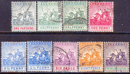 BARBADOS 1905 SG #135-44 Compl.set W/shades For ½d And 2½d Used Wmk Mult. Crown CA CV £275 - Barbades (...-1966)