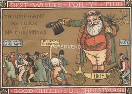 Christmas Card Walter Crane Triumphant Return Of Mr. Christmas  Egc371 - Old Paper