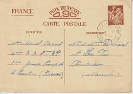 Carte Interzone Type Iris 1940 Oblit. Camp De La Courtine Pour La Manche - Marcophilie (Lettres)