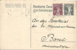 Schweiz Suisse 1921: PK CP Fils De Tell-Knabe 7 1/2 Mit Zu+Mi 136 Yv 157 O BASEL 14.II.21 Nach Basel (Zu CHF 7.00) - Interi Postali