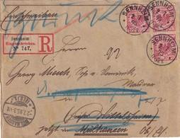 ALSACE-LORRAINE 1895 LETTRE RECOMMANDEE DE SENNHEIM AVEC CACHET ARRIVEE MÜLHAUSEN - Marcophilie (Lettres)