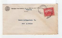 Sur Env. Banque Nationale Timbre Haïti Obl. CAD Gonaïves 1936. CAD Destination Port Au Prince Et Slogan Café. (2230x) - Haïti