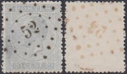 """Belgique - COB 18 Oblitération LP """"52"""" Braine L'Alleud (DD) DC3156 - 1865-1866 Profile Left"""