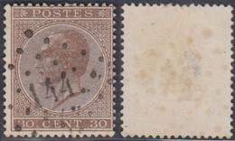 """Belgique - COB 19 Oblitération LP """"144"""" Gembloux (DD) DC3180 - 1865-1866 Profile Left"""