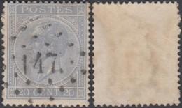 """Belgique - COB 18 Oblitération LP """"147"""" Gheel (DD) DC3182 - 1865-1866 Profile Left"""