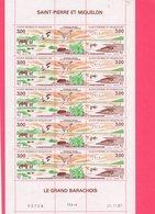 Feuille Non Pliée Du Triptyque 494 A De Saint - Pierre Et Miquelon .( Coin Daté Du 26/11/1987 ) - Timbres