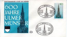 "BRD Schmuck-FDC ""600 Jahre Ulmer Münster"", Mi. 937 ESSt 17.5.1977 BONN 1 - [7] Repubblica Federale"