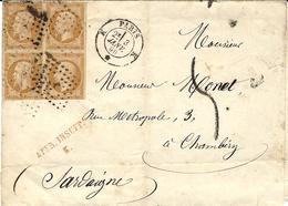1860 -enveloppe De PARIS Bureau K ( R. St Lazare ) Cad 1521 Affr. Bloc De 4 N_13 TAXE Tampon 5 D  + AFFR. INSUFF../ K - Marcophilie (Lettres)