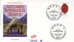 """BRD Schmuck-FDC """"500 Jahre Universität Mainz"""", Mi. 938 ESSt 17.5.1977 BONN 1 - [7] Repubblica Federale"""