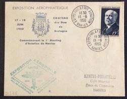 D436 Exposition Philatélique Aviation Nantes 18/6/1950 Poincaré 864 Aérophile 1er Meeting - Postmark Collection (Covers)