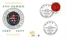 """BRD Schmuck-FDC """"450 Jahre Universität Marburg"""", Mi. 939 ESSt 17.5.1977 BONN 1 - [7] Repubblica Federale"""