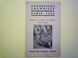 GP 2019 - 1100  EXPO Coloniale Intern. 1931  :  Béliers Greffés En Algérie  (Stand De L'Union Ovine)  XXX - Vieux Papiers