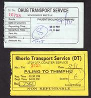 BHUTAN 2x Bus Tickets (used) Phuentsholing To Thimphu - Monde