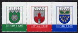 Latvia - 2019 - Coats Of Arms - Tukums, Aizpute, Rucava - Mint Self-adhesive Definitive Stamp Set - Letland