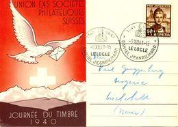 Schweiz Suisse 1941: JOURNÉE DU TIMBRE 1940 Avec Zu PJ 98 Mi 400 Yv 372 Avec O LE LOCLE 9.XII.41 DANIEL JEANRICHARD - Pigeons & Columbiformes