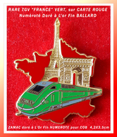 SUPER PIN'S TGV : RARE CREATION BALLARD Pour COB, ZAMAC Doré à L'Or Fin Version TGV VERT Sur CARTE De FRANCE ROUGE, N°.. - TGV