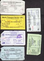 BHUTAN 6x Bus Tickets (used) Phuentsholing / Trashigang / Dagapela To Thimphu And Thimphu To Gelephu BHOUTAN - Wereld