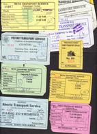 BHUTAN 11x Bus Tickets (used) Phuentsholing / Trashigang / Dagapela To Thimphu,Thimphu To Phuentsholing &Gelephu BHOUTAN - Bus