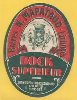 Etiquette Peu Courante - Bieres Narcisse Mapataud Limoges Bock Superieur Hors Concours Paris Limoges - Bière