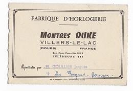 25 - VILLERS LE LAC - Horlogerie  - Montres DUKE - Advertising