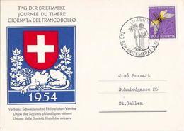 Schweiz Suisse PJ 1954: Zu 141 Mi 584 Yv 515 Löwen-Monument Lion Mit LUZERN 5.XII.1954 TAG DER BRIEFMARKE (Zu CHF 14.00) - Félins