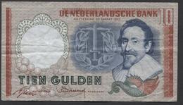Netherlands 10 Gulden, 1953  -  5 LS 023949 - See The 2 Scans For Condition.(Originalscan ) - [2] 1815-… : Koninkrijk Der Verenigde Nederlanden