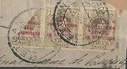 1920. ED 58. FRAGMENTOS CON ED. 58 X2 BISECTADO. MATASELLO TETUÁN - Marruecos Español