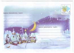 UKRAINE 2013 (3-3653). VILLAGE IN WINTER, CHRISTMAS MOTIVE. Postal Stationery Stamped Cover (**) - Ukraine