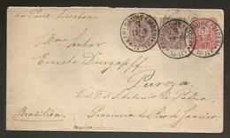 GERMANY. 1887 (13 March). Karlgrube, Baden - Brazil. Pureza Esçao S Antonio De Padua, RJ 10pf Red Stat Env 5pf Violet Pa - Germany