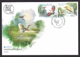 Serbia 2019 Europa CEPT National Birds Fauna Wallcreeper Squacco Heron FDC - 2019