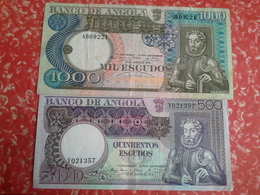 Lot 2   Bancnotes  1000, 500  Escudos Angola Portuguesa - Portugal