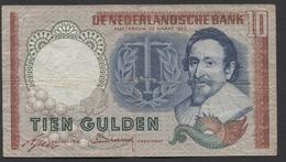 Netherlands 10 Gulden, 1953  -  BHB 082102  - See The 2 Scans For Condition.(Originalscan ) - [2] 1815-… : Kingdom Of The Netherlands