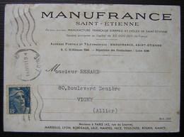 Saint Etienne Manufrance 1948 Carte De Commande - Marcofilia (sobres)