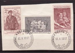 Tschechoslowakei / CSSR , 1951 , Mi.Nr. 661 , 662 , 664 O / Used  Auf Papier Ersttagsstempel - Gebraucht