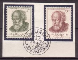 Tschechoslowakei / CSSR , 1952 , Mi.Nr. 755 , 756 O / Used  Auf Papier Ersttagsstempel - Gebraucht