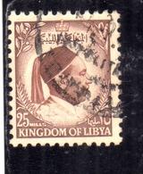 UNITED KINGDOM OF LIBYA REGNO UNITO DI LIBIA 1952  RE IDRISS KING MILLS 25m USATO USED OBLITERE' - Libië