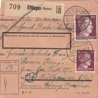 ALLEMAGNE COLIS POSTAL/PAKETKARTE 1944 DE ETTLINGEN - Covers & Documents