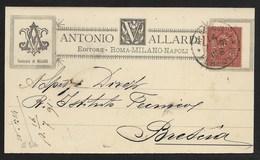 DA MILANO A BRESCIA - 14.7.1891 - ANTONIO ALLARDI EDITORE. - Poststempel