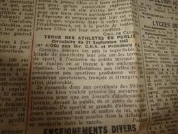 1943 L'INFORMATION UNIVERSITAIRE:Pas D'embrassade;Public Lamentable Et Plutôt Imbécile;Un Jour Les Troupes Anglo-US ;etc - Newspapers