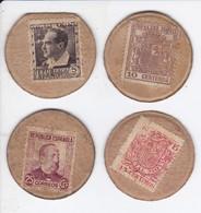 LOTE DE 4 SELLO MONEDAS DE ESPAÑA DE LA REPUBLICA ESPAÑOLA - [ 3] 1936-1975 : Régimen De Franco