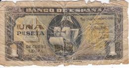 BILLETE DE ESPAÑA DE 1 PTA DEL 4/09/1940 SERIE A CARAVELA  (BANKNOTE) - [ 3] 1936-1975 : Régimen De Franco