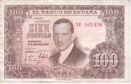 BILLETE DE ESPAÑA DE 100 PTAS DEL 7/04/1953 SERIE 3U CALIDAD BC  (BANKNOTE) - 100 Pesetas