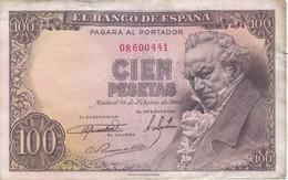 BILLETE DE ESPAÑA DE 100 PTAS 19/02/1946 SIN SERIE (BANK NOTE) GOYA - [ 3] 1936-1975 : Régimen De Franco