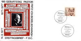 """BRD Schmuck-FDC (Langformat) """"100. Geburtstag Von Friedrich Von Bodelschwingh"""", Mi. 942 ESSt 13.7.1977 BONN 1 - FDC: Sobres"""
