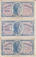 SERIE COMPLETA DE 3 BILLETES DE 50 CTS DEL AÑO 1937 SERIES A-B-C  (BANKNOTE) - [ 2] 1931-1936 : República
