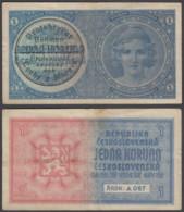 Bohemia & Moravia 1 Koruna 1939 (VF) Condition Banknote P-1 - Bankbiljetten