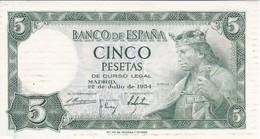 BILLETE DE 5 PTAS DEL AÑO 1954 SERIE M DE ALFONSO X SIN CIRCULAR-UNCIRCULATED (BANKNOTE) (manchas) - [ 3] 1936-1975 : Régimen De Franco