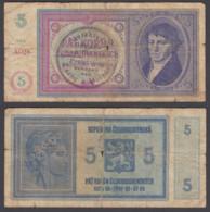 Bohemia & Moravia 5 Korun 1939 (VG) Condition Banknote P-2a Not Perforated - Bankbiljetten